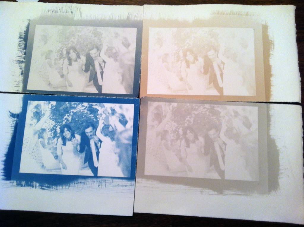 Four colors of cyanotype